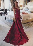 Beading Lace Burgundy A-line Prom Dress