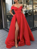 Off the Shoulder Satin Red A-Line Prom Dress