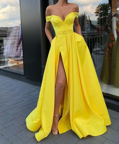 Off the Shoulder Satin Yellow Prom Dress With Belt