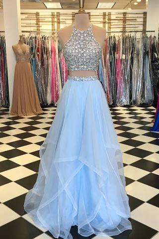 Halter Two Piece Beading Blue Ruffles Tulle Prom Dress