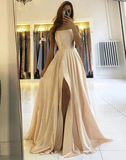 Champagne Satin Criss Cross Backless Long Prom Dress With Slit