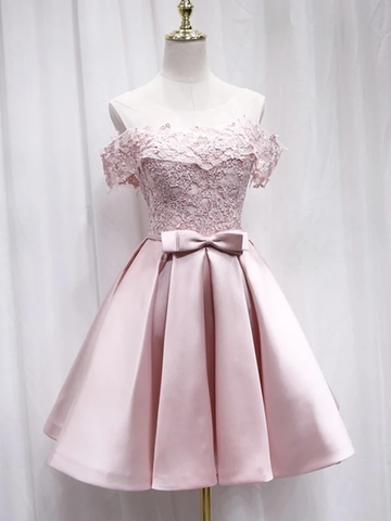 Cute Pink Off The Shoulder Appliques Satin Homecoming Dress With Bow