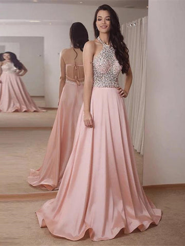 Halter Beading Backless Pink Satin Prom Dress
