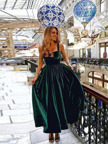 Dark Green Straps Velvet Ankle Length Prom Dress