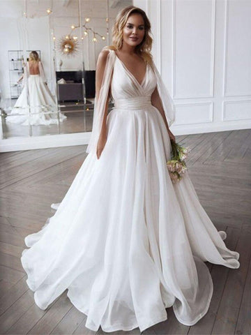 V Neck Tulle Backless A Line Sexy Sweep Train Wedding Dress