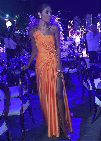 Satin Strapless Orange Sheath/Column Evening Dress