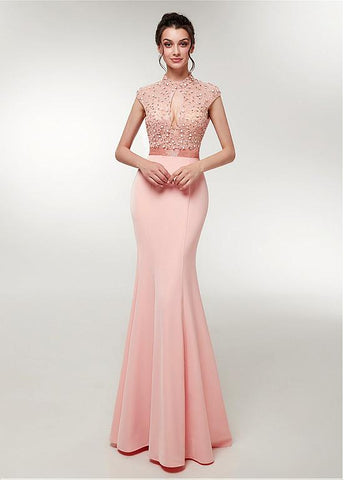 High Collar Backless Beading Mermaid Evening Dress