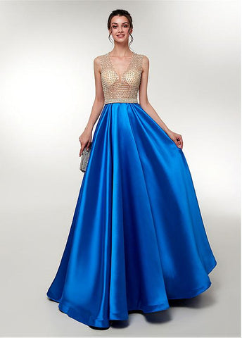 Satin V-neck Beading Long Prom Evening Dress