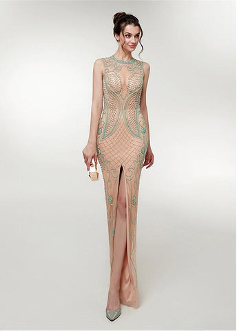 Champagne Jewel Beading Long Slit Mermaid Prom Dress