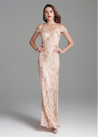 Spaghetti Straps Sheath/Column Embroidery Sequins Lace Prom Dress