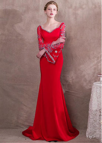 Satin V-neck Red Long Sleeve Mermaid Evening Dress