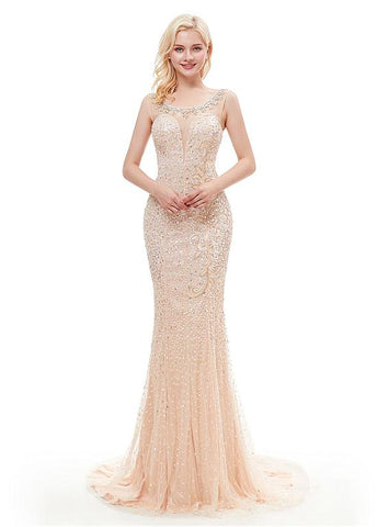 Champagne Satin Scoop Long Mermaid Evening Dress