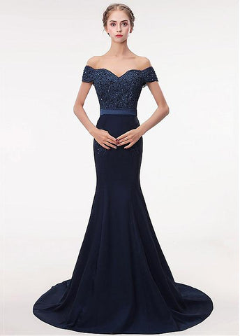 Stretch Satin Off-the-shoulder Navy Mermaid Beading Evening Dress