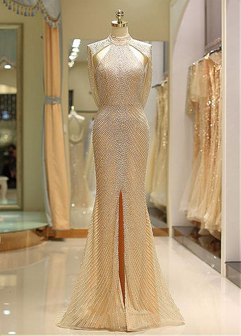 Tulle High Collar Backless Gold Mermaid Prom Dress