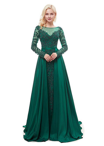 Satin Bateau Long Sleeve Green A-line Formal Dress