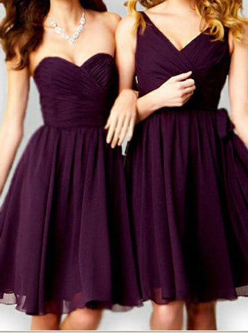 Short Grape Bridesmaid Wedding Party Dress
