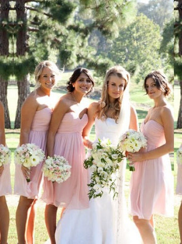 Short Pink Sweetheart Pleats Chiffon Bridesmaid Dress