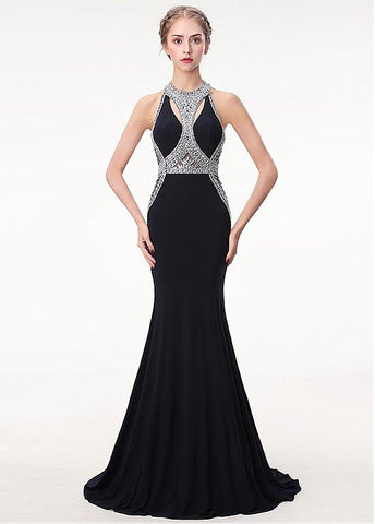 Halter Black Satin Mermaid Keyhole Evening Prom Dress With Beadings
