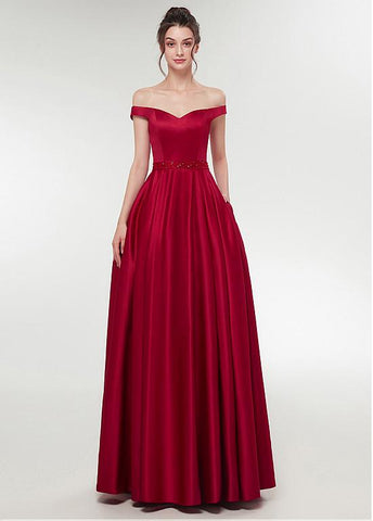 Burgundy Satin Off-the-shoulder Neckline A-line Prom Dress With Beadings