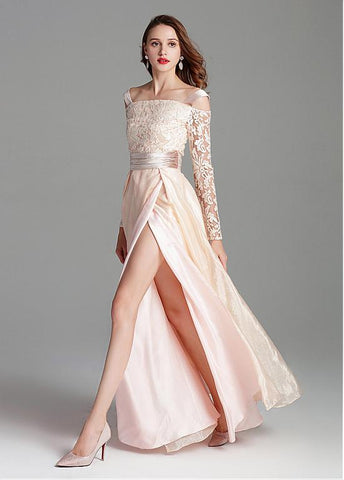 Organza Off-the-shoulder Embroidery Pink Prom Dress