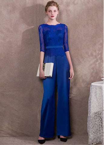 Jumpsuit Acetate Royal Satin & Lace Jewel Evening Dress