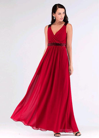 Lace V-neck Red Beading A-line Evening Dress