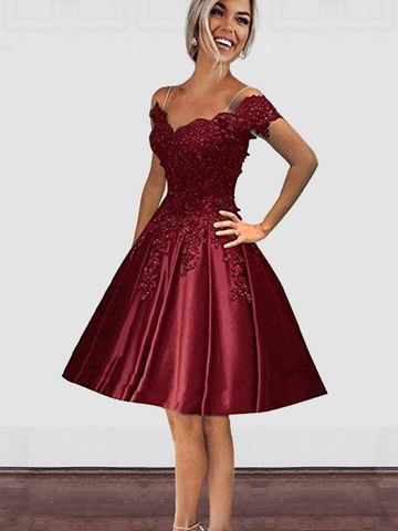 A-Line Off-the-Shoulder Applique Satin Burgundy Homecoming Dress