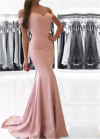 Belt Mermaid Acetate Satin Off-the-shoulder Prom Dress