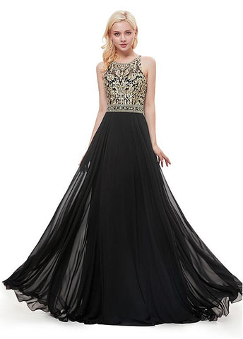 Chiffon Jewel Embroidery Black Prom Dress