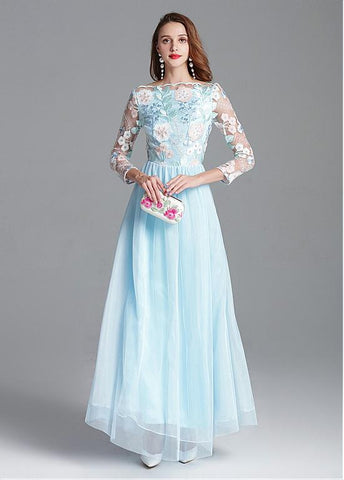 Embroidery Lace & Tulle Bateau Long Sleeve A-line Prom Dress
