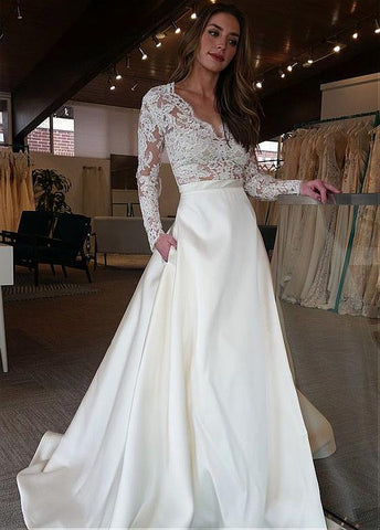 Satin V-neck Long Sleeve A-line Wedding Dress With Lace