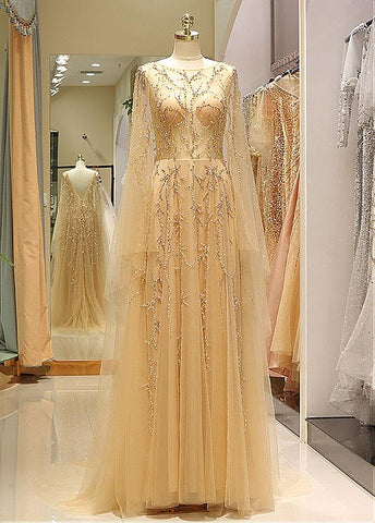 Tulle Jewel Long Sleeve Gold Beading Prom Evening Dress
