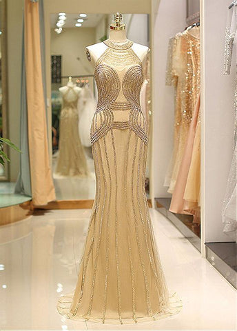 Gold Tulle Jewel Beading Chains Mermaid Prom Evening Dress