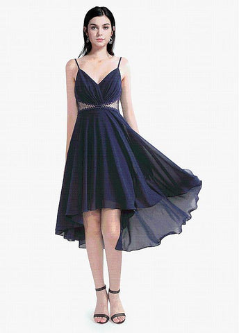 Composite Silk Chiffon Spaghetti Straps Hi-lo Homecoming Dress