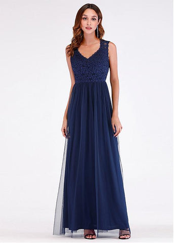 Fantastic Lace & Tulle V-neck Blue A-line Evening Dress