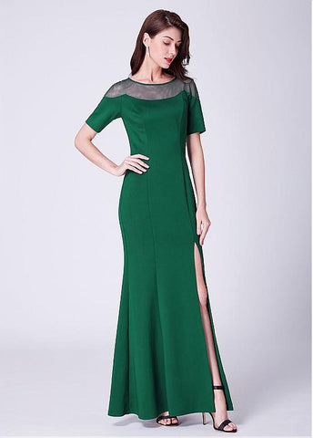 Cotton Jewel Long Green Mermaid Formal Dress With Slit