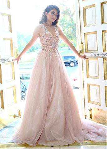 88959cf61b0 Tulle V-neck Pink Flower A-line Prom Dress With Appliques – Sassymyprom