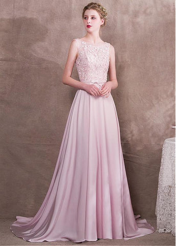 Satin & Tulle Bateau Pink Belt Prom Dress With Handmade Flowerss