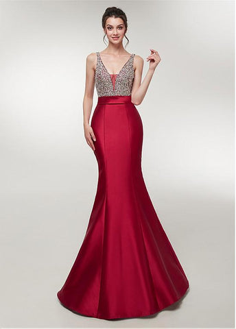 Satin V-neck Wine Red Mermaid Evening Dress