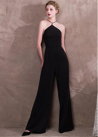 Black Jumpsuit Acetate Satin & Lace Jewel Evening Dress