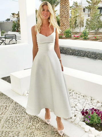 A-Line Straps Ankle Length White Satin Homecoming Dress