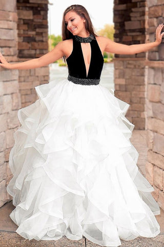 High Neck Keyhole White And Black Ruffles Prom Dress