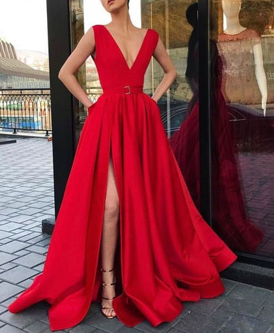 V-Neckline Satin Burgundy Long Prom Dress With Slit
