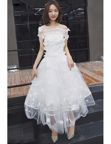 Tulle Tea Length Off The Shoulder Wedding Dress with Flowers