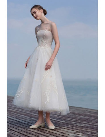 Appliques Tea Length Tulle Sheer Neckline Wedding Dress
