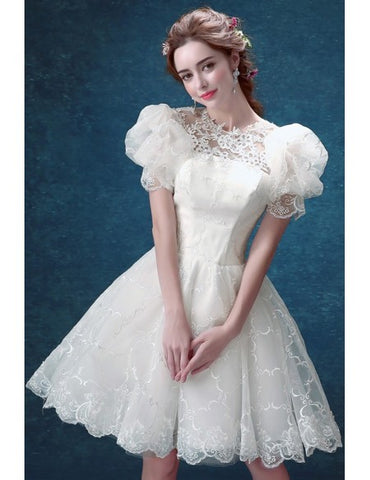 Short Round Neck Lace Bubble Sleeves Wedding Party Dress