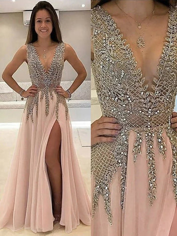 Princess V-Neck Beading Tulle  Prom Dress