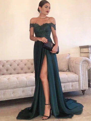 Off-the-Shoulder Green Slit Lace Satin Prom Dress