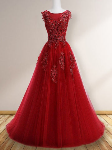 Princess Scoop Dark Red  Floor-Length Applique Tulle Prom Dresses