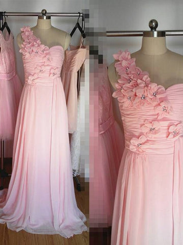 One-Shoulder Hand-Made Flower Bridesmaid Dresses